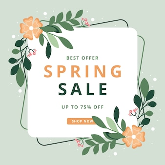 Floral spring season sale with abstract frame