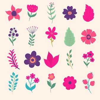 Floral spring set with flat style doodle abstract flowers and leaf