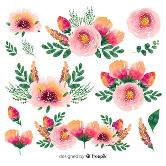 Floral spring time watercolor bouquet background