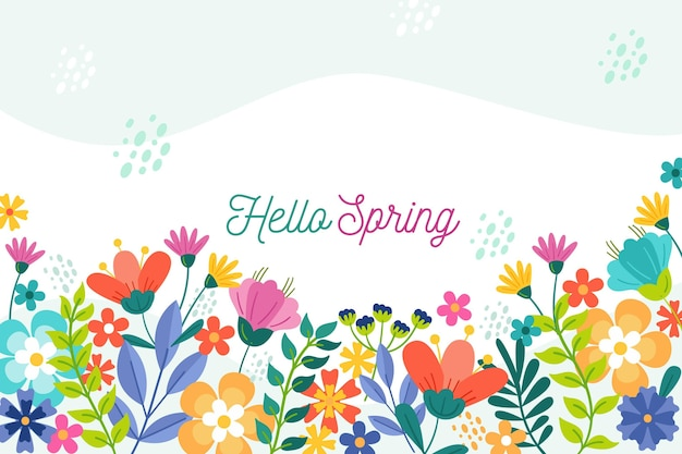 Floral spring wallpaper with greeting