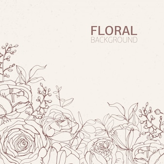 Цветочный квадратный фон с великолепными цветущими розовыми цветами, листьями и соцветиями, растущими снизу