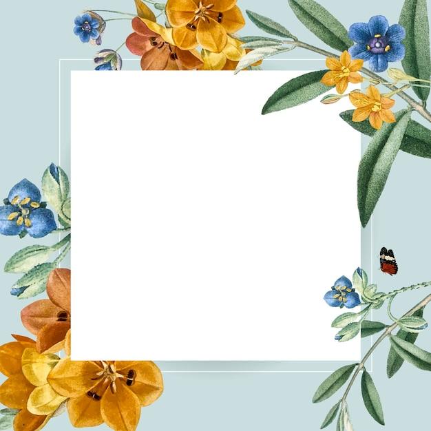 花の正方形のフレームデザイン