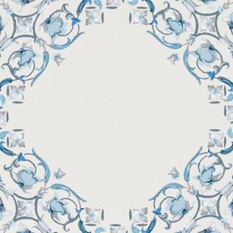 ネイビーブルーの花柄スクエアフレーム