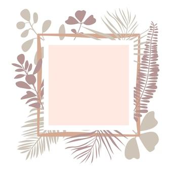 ヤシの葉熱帯植物と花の正方形のフレームテキストのスペースをコピーフラットベクトルイラスト