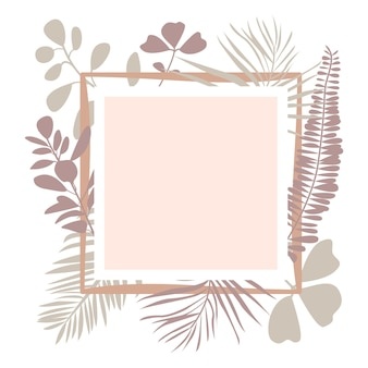 Floral square frame with palm leaves tropical plants copy space for text flat vector illustration