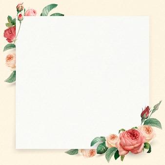 花の正方形の白いフレームベクトル