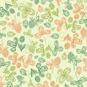 手描きの天然シャムロックと四つ葉のクローバーのベクトル図と花の聖パトリックの日ライトグリーン