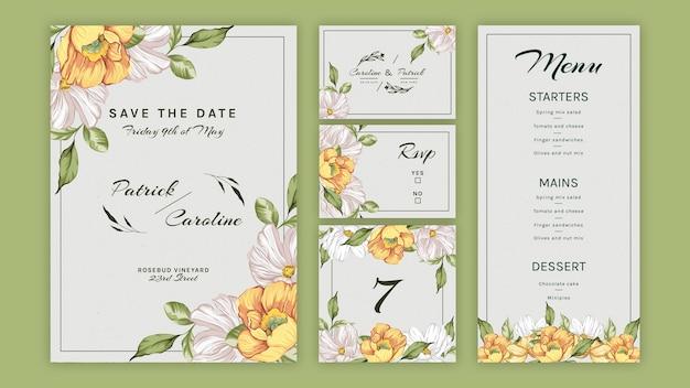 結婚式のための花の文房具コレクション