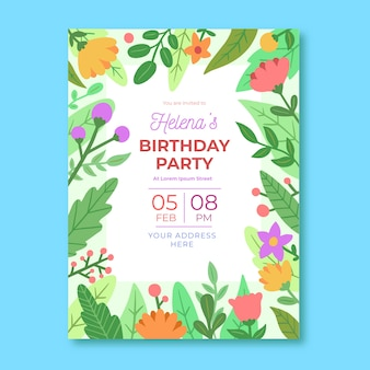 Floral style birthday card template