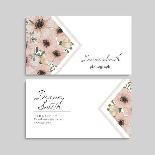 Floral style business card template vector