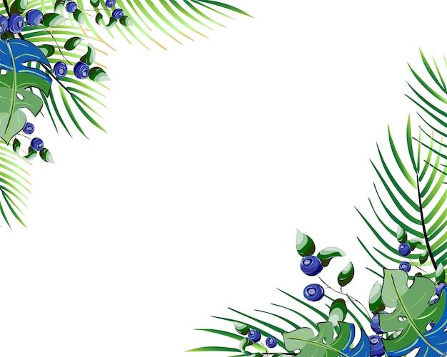 숲 녹지 푸른 잎과 꽃 스타일 카드 디자인