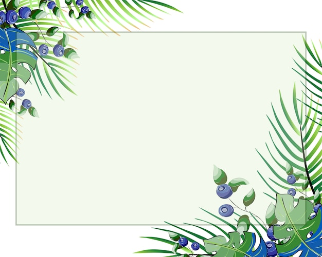 Floral style card design with forest greenery blue leaves