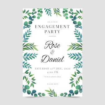 花スタイルの婚約招待状のテンプレート