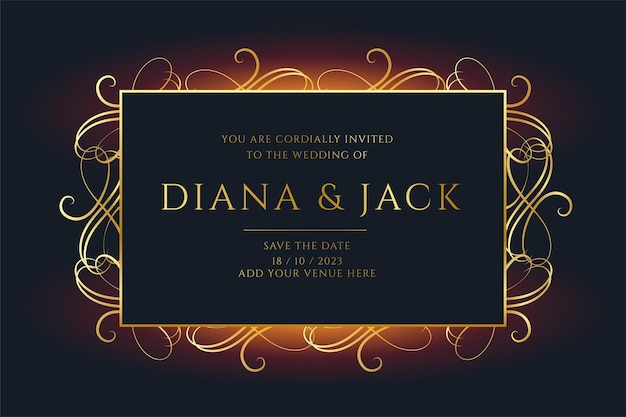 Floral style golden wedding invitation template