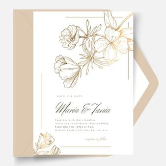 花のスタイルのウェディングカードテンプレート