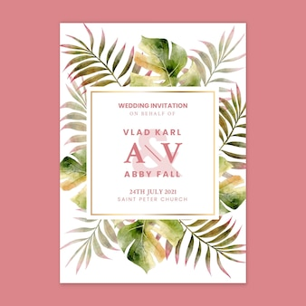 Floral style wedding card template