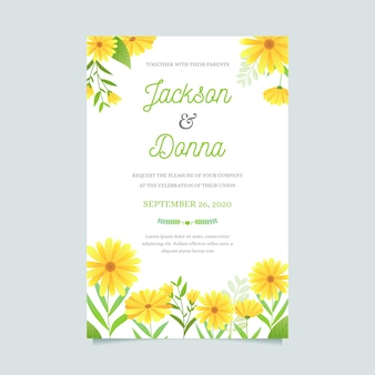 꽃 스타일 결혼식 초대장 서식 파일