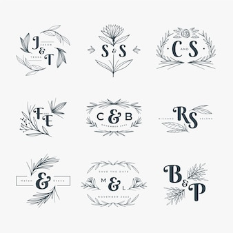 Floral style wedding logos