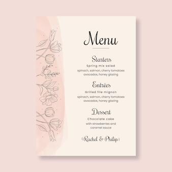 Floral style wedding menu