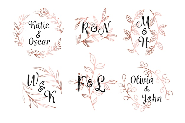 Floral style wedding monograms