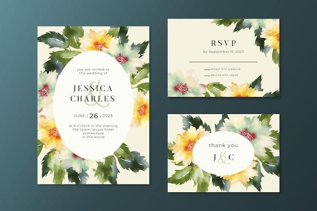 Modello di invito a nozze in stile floreale