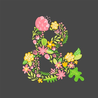 Floral summer ampersand. flower capital wedding alphabet