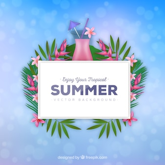 Floral summer background with cocktail