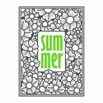 Floral summer hand drawing vector illustration