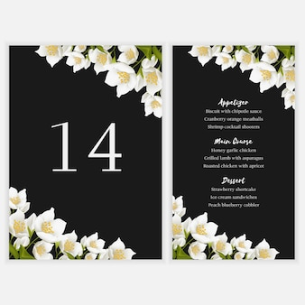Floral table menu card with jasmine bouquet