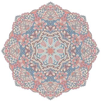 花のタトゥー曼荼羅飾り。パステルカラーでエスニックベクトルメダリオンフォークアートスタイルのデザインプリント