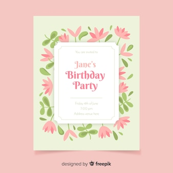 Floral tematic birthday  invitation