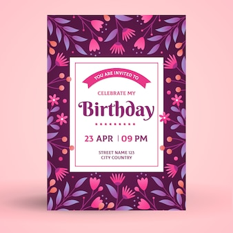 Floral template birthday card/invitation