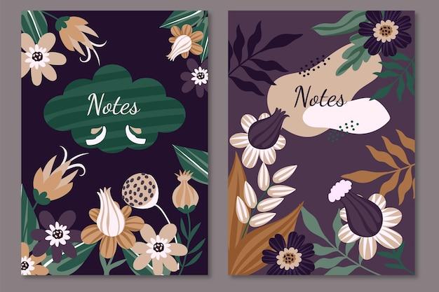 ノートデザインの花のテンプレート
