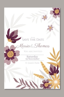結婚式の招待状の花のテンプレート