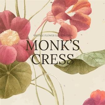 パブリックドメインのアートワークからリミックスされた、僧侶のクレスの背景を持つ花のテンプレートベクトル