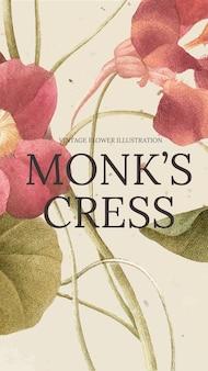 Vettore di modello floreale con sfondo di crescione del monaco, remixato da opere d'arte di pubblico dominio