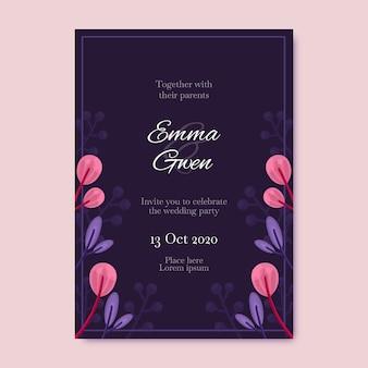 花のテンプレートの結婚式の招待状
