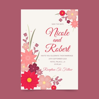 Floral template for wedding invitation