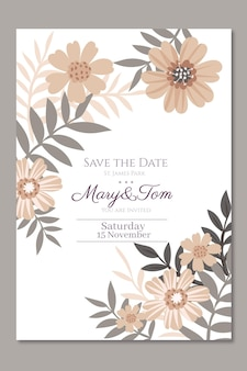 Floral template of wedding invitation