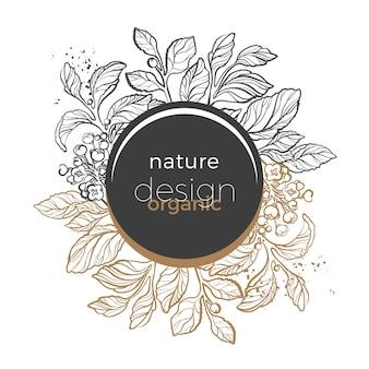アートラインリーフベリーと花とメイトブランチのゴールドとブラックの花のテンプレート
