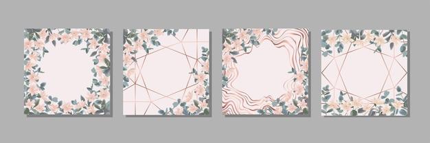 꽃과 유칼립투스 식물 배경으로 설정된 꽃 템플릿은 텍스트 장소로 조롱합니다.