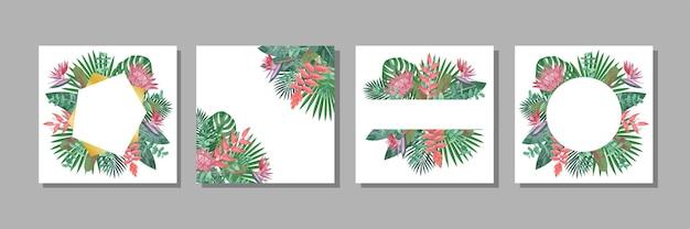 열대 꽃과 허브 녹지로 설정된 꽃 템플릿은 텍스트 장소로 조롱합니다.
