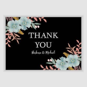 Floral thank you card template with blue flower decoration