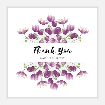 Floral thank you card with purple flower frame