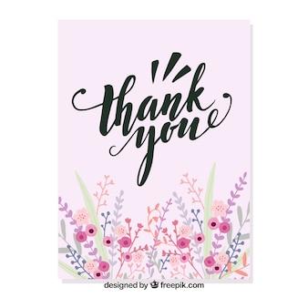 Floral thank you card Premium Vector