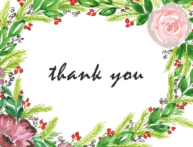 Floral thank you greeting card in watercolor style