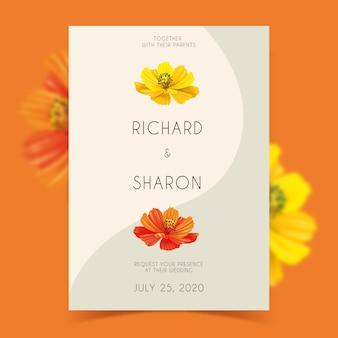結婚式の招待状のテンプレートの花のテーマ