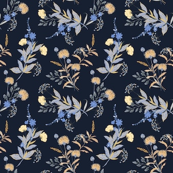 Floral themed seamless pattern