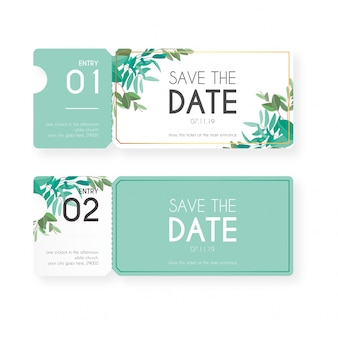 Floral tickets for wedding invitation