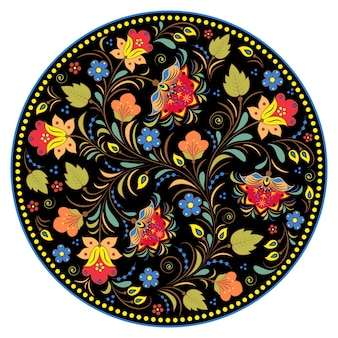 Цветочные традиционные русские иллюстрации